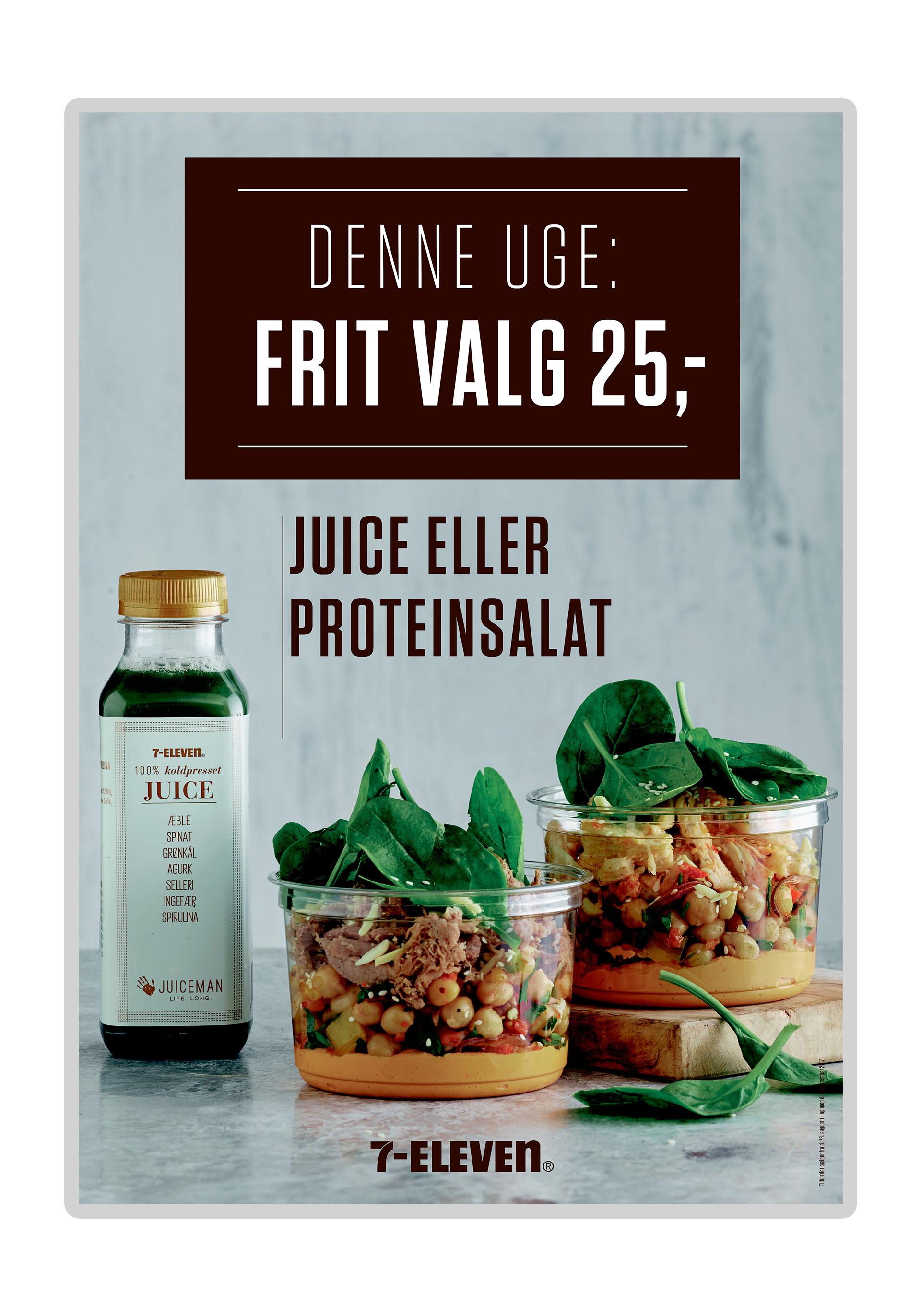 7-Eleven plakat Juice eller proteinsalat